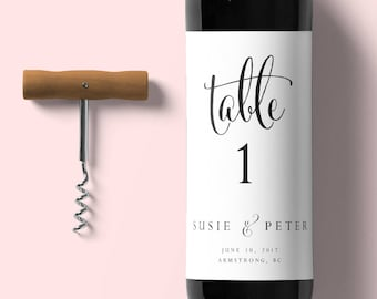 Table Number Wine Label-Instant Download-Editable Wine Label-Table Number-Digital Calligraphy-Cheers Label-Wedding Wine Label -#SN004_WLC