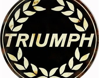 "Vintage Style "" Triumph Motorcycles "" Round Metal Sign (Rusted)"