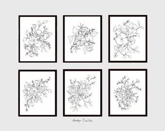 INSTANT DOWNLOAD, Set of 6 Floral Art Prints, Gallery Wall Set, Minimal Black & White Floral Set, minimal instant download, Printable Art