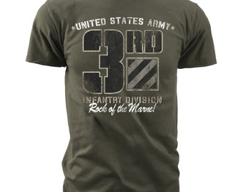 Men's Army T-Shirt - US Army 3rd Infantry Division - Rock of the Marne Retro (MT640)