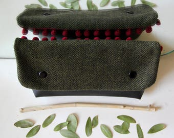 Flap upcycled fabric / black make-up pouch and a touch of Eggplant / faux leather handbag clutch