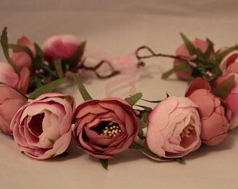 Flower crown Pink  Bridal headband  Pink floral crown Floral halo Flower crown floral crown Boho headband Wedding headband