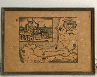 Antique Map France Mont St Michel