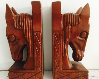 Vintage Wood Carved Pair Horse Head Bookends