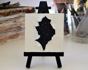 A Rip in Space and Time - Ripped Canvas - Mini Painting with Easel