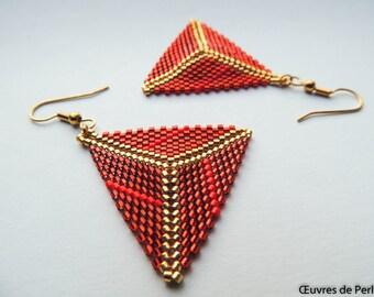 Red triangle earrings in Miyuki beads in peyote stitch Dangling earrings Beaded earrings Drop earrings Christmas gift for her