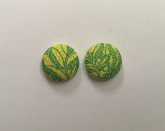 15mm Yellow/Green Floral Fabric Studs