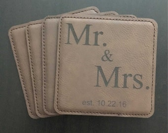 Leather Mr. & Mrs. Coasters,  Add your Special Date, Choice of Colors, Set of 4, Wedding, Engagement, Housewarming, Gift, Special Occasion