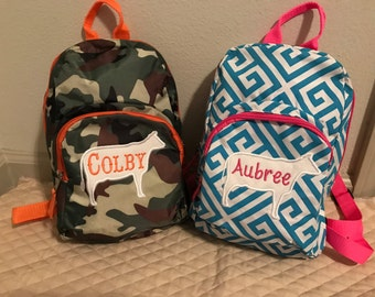 Personalized Embroidered Kids Cow Backpacks