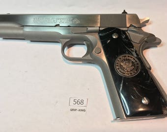 1911 full size grips,U.S. Navy special issue medallions installed in fabulous Black Pearl faux, Sale ! item # 568