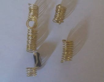 Beautiful gold trio loc/braid jewelry