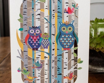 Owls Family Laser Greeting Card