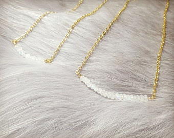 Crystal necklace,Layering necklace,Dainty necklace,Moonstone Necklace,Bar necklace, Stacking necklace
