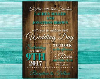 Rustic wood background wedding invite, Turquoise wedding invitation, teal, aqua, invitation, printable wedding invitations, custom printable