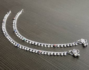 Barefoot anklets | Indian fusion jewelry | Tribal bohemian anklet | Anniversary gift anklet for wife | Girls payal Hand crafted anklet |A166