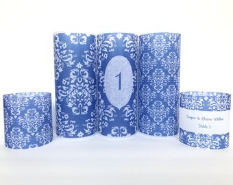 Damask wedding table number, damask luminary, damask place card name holder, Damask wedding decor, Wedding luminaries, damask wedding candle