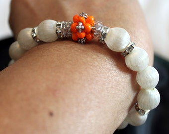 Elegant silk thread beaded handmade bracelet in white & orange; beadweaving, shamballa, cute, shiny, casual wear, party wear