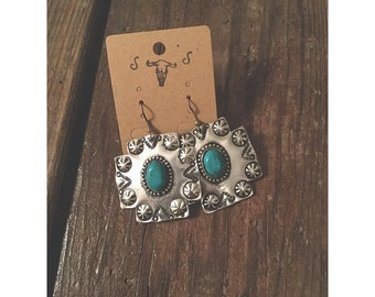 Silver and Turquoise Square Cross Earrings