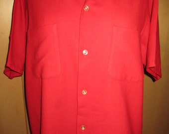 Short sleeved mens 50s vintage wool mix shirt