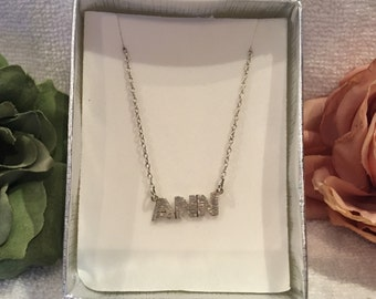 """Lovely Vintage Sterling Silver LAVALIER Style Necklace-Featuring the Name """"ANN"""" in the Centre-Shorter Length at 39cm (15 3/8 inches)"""
