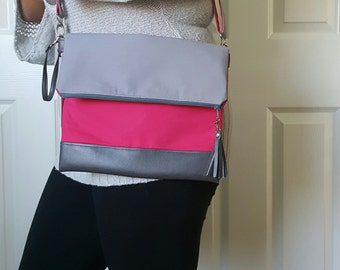 Pink Gray / Grey Crossbody Bag, Gray Faux Leather, Crossbody Purse, Clutch Purse, Wristlet, Shoulder Bag, Handbag, Birthday Gift for her