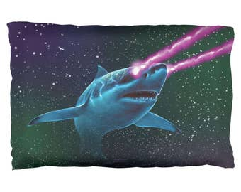 Galaxy Great White Shark Laser Beams Pillow Case