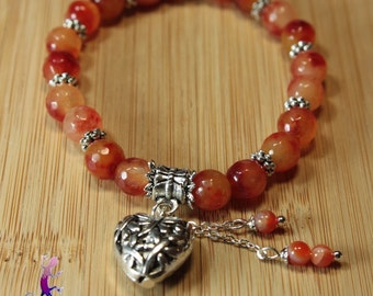 Carnelian bracelet faceted charm in silver metal heart charm