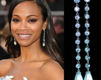 Handmade Celebrity Inspired Cubic Zirconia CZ and MOP Shell Teardrop Pearl Dangle Bridal Earrings, Bridal, Wedding (Pearl-696)