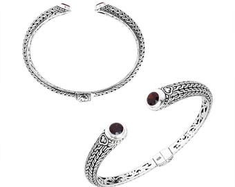 Garnet sterling silver bangle