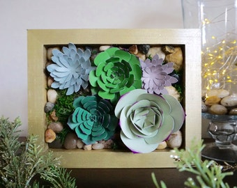 Live Wall with Paper Succulent