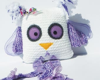 Cute little OWL white and purple