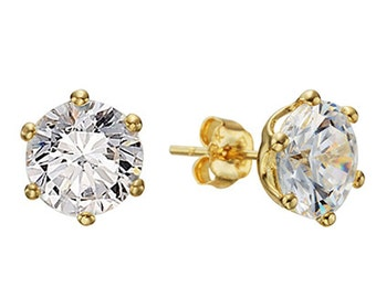 14k Solid Yellow Gold Stud Earrings Linie(L) 7654 Charming Cubic Design Lovely