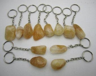 Bulk Tumbled Stone Citrine Keychains- 12 PIECE LOT - compare @ 7.00/pc.