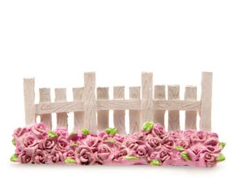 Miniature Fence, Tiny Fence with Pink Roses, White Picket Fence for Fairy Gardens, Fairy House, Terrariums, and Garden Decorations