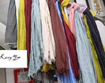 100% linen net scarf 17 colors for choice with tassels price for 1 piece