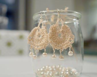 Hemp, Cute earrings, Cream earrings, Crochet earrings, Elegant earrings, Textile earring, One of a kind, Handmade earring