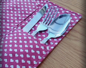 Pink hearts cutlery pockets, table decoration, tablewear, dining table accessories