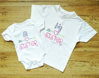 Big Sister t-shirt,little Sister vest,big sister gift,big sister,little sister,new baby gift,new sister gift,new big sister,baby girl