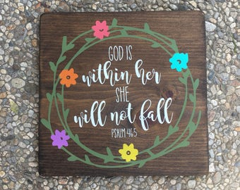 God is within her. She will not fall - rustic, stenciled and painted, handmade wood sign