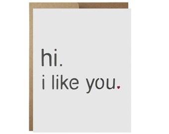 I Like You Valentine's Friendship Love Card