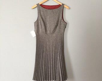 1960s steel grey mini dress | accordion skirt mod mini dress / s / m