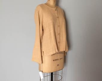 rich wheat linen pantsuit | linen jacket and pants set | linen tunic and pants