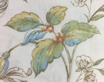 Vintage Sheet Fabric / 90x102 / blue, apricot and gold floral on beige background / reclaimed fabric / quilting / sewing / cotton percale