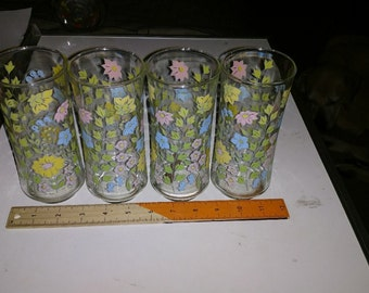 Litho Printed drinking glasses Set 4 1980s pastel floral