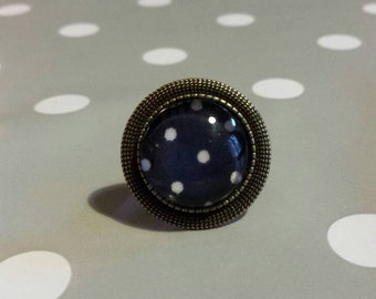 Navy Blue antique ring with white dots