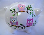 Piggy bank,personalized piggy bank,painted piggy bank with owls, childrens piggy bank, adult piggy bank, large piggy bank, white piggy bank