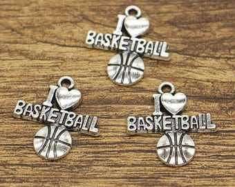 20pcs I love Basketball Charms Team Sports Charms Antique Silver Tone 20x22mm cf1796