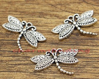 20pcs Dragonfly Charms Insect Charms Antique Silver Tone 16x25mm cf1018