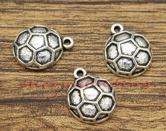 20pcs Soccer Ball Charms Sports Charms Antique Silver Tone  13x17mm cf2435
