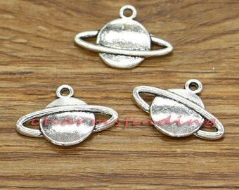 20pcs Planet Charms Saturn with Rings Charms Antique Silver Tone 23x10mm cf0211